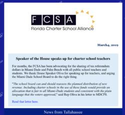 Speaker of the House speaks up for charter school teachers